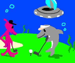 Alien & dolphin caddy play underwater UFO golf