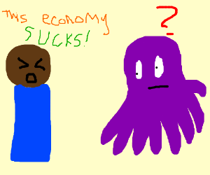 Man complains about the economy to an octopus