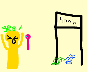 yellow foreign man wins snail race