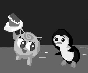 Jigglypuff steals penguin's slice of cake