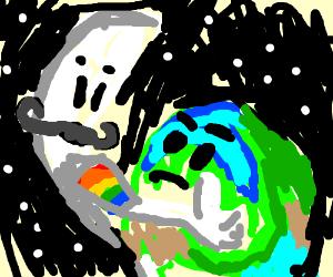 Gay Mustache moon trying to hug straight earth