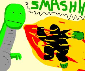 hulk is set on fire by poker face dragonman