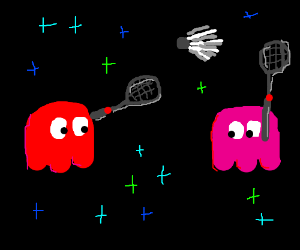 two ghosts play badminton
