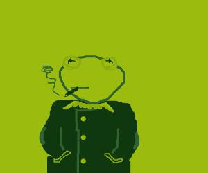 Kermit the Frog in gentleman garb.