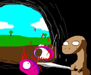 A blind cave salamander splits a purple face.