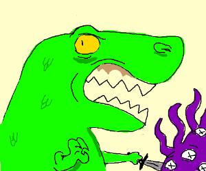 Dinosaur slays purple alien