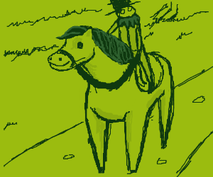 Count kermit takes his stallion out for a ride