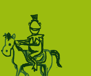 Sir Kermit the Frog rides a horse