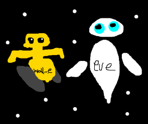 wall-e and eve chilling in space