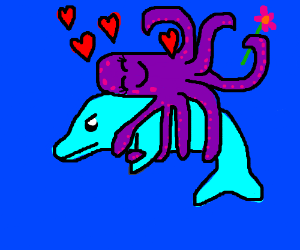 Dolphin has obsessed octopus girlfriend