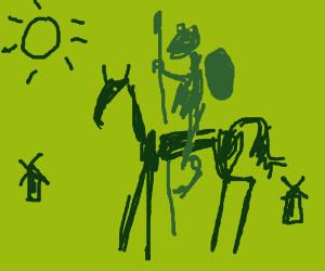 Kermit Quixote on his horse