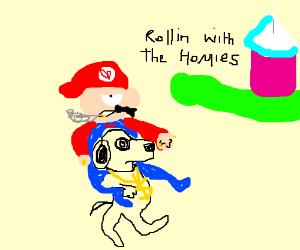 Mario riding Snoopy to Peach's Castle.