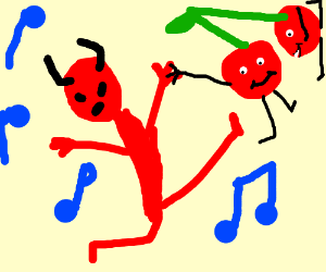 Red devil made out of cherries dances