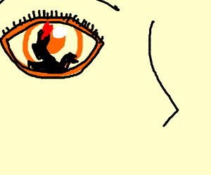 Orange eyeball with reflection of black dragon