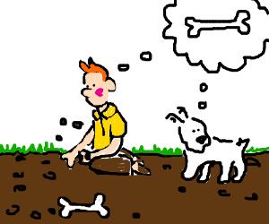 Tintin looks for snowy's buried bone