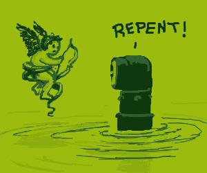 Submarine periscope preaches to cherub
