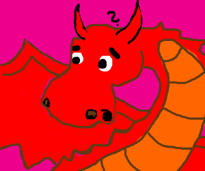 red dragon unsure what it is seeing