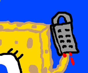 spongebob with his hand stuck in cheese grater