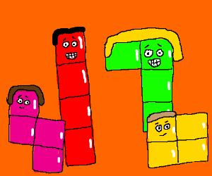 A happy family of Tetris blocks.