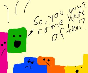 Awkward Tetris pieces try to socialize.