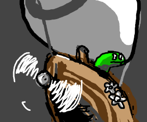 Green sock puppet in a steampunk contraption.