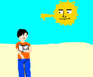 man jerking off under disapproving sun.