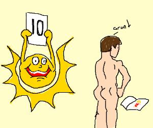 sun is judging man masturbating