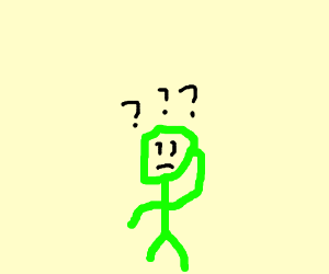 Tiny green man is confused