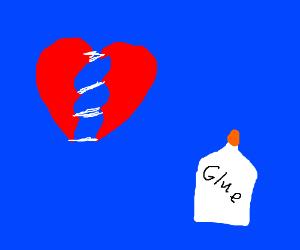 Fixin' a broken heart with glue. Imposibruuuu!