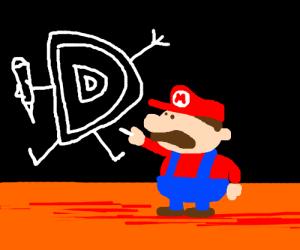 Mario draws Drawception's trademark.