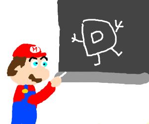 Mario draws Drawception D in chalk