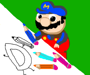 Mario give you a pencil to draw Drawception