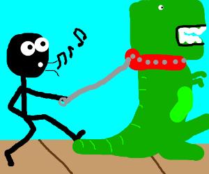 Stickman casually walking his T-rex