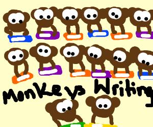 14 monkeys on typewriters