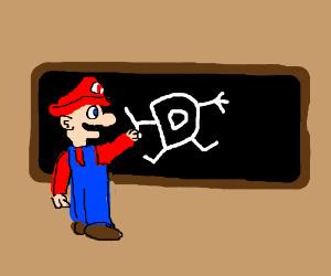 Mario draws the Drawception D on a chalkboard.
