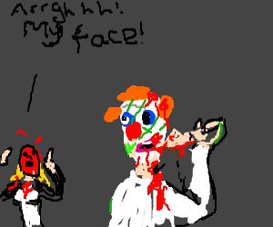 zombie clown eats lady's face