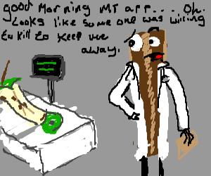 Bacon doctor examines a patient.