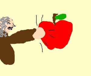 Isaac Newton hits an apple.