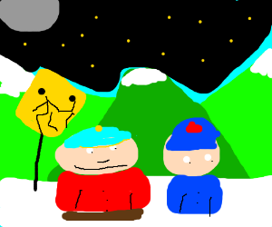 south park kids waiting for the bus at night