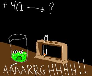 Suffering an acid freakout in chemistry class.