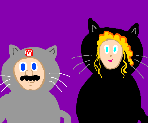 Mario and Peach dressed in kitty costumes.