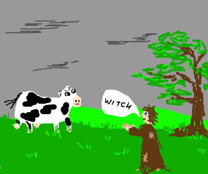 Medieval moron accuses cow of witchcraft