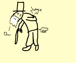 old man farts and his back gives out at once