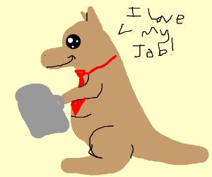 Kangaroo Business man who loves his job