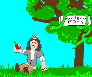Isaac N. eats the forbidden appel