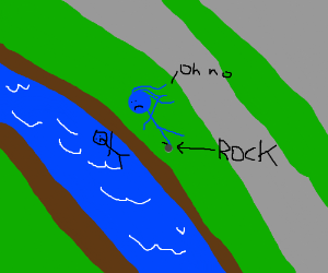 Blue women trips over rock into river