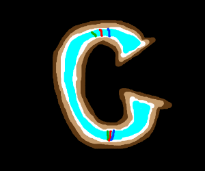Stylized cyan C on black background