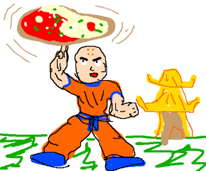 Buddhist monk makes a veggie ying-yang pizza