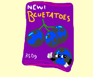 A packet of blueberry potatoes