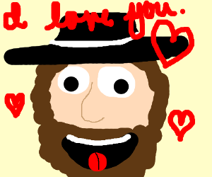 Bearded Man With Nice Hat Loves You